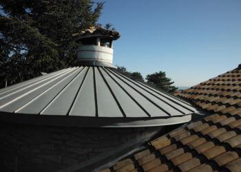 particulier - couverture d'une tour en zinc à joint debout gironné - 2